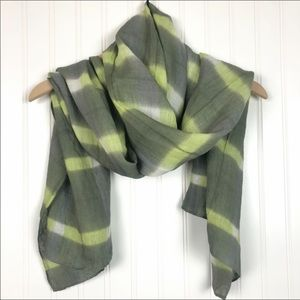 Eileen Fisher Green Shadow Plaid Linen Scarf